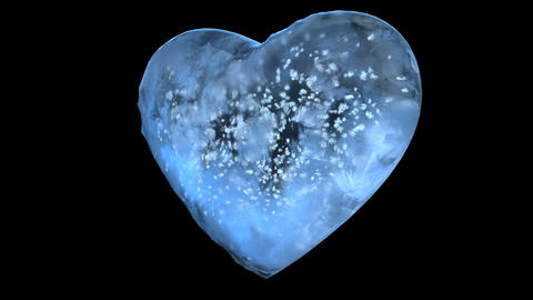 Rotating Blue Ice Glass Heart with snowflakes inside Alpha Matte Loop 4k Animation