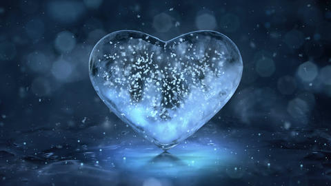Blue Ice Glass Heart with snowflakes inside motion background Loop 4k Image