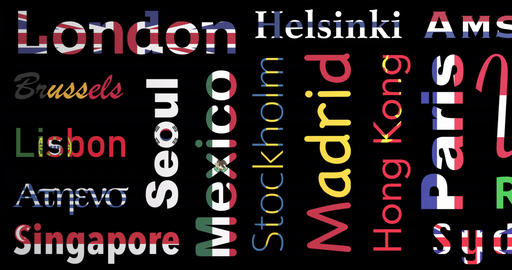 Flags colored pattern of cities names, loop, alpha Animación