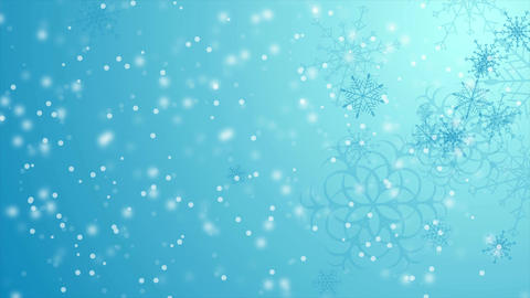 Blue falling snowflakes Christmas winter video animation Animation