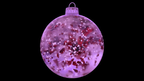 Christmas Rotating Pink Ice Glass Bauble Decoration red petals alpha matte loop Animation