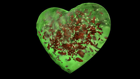 Rotating Green Ice Glass Heart with snowflakes, red petals Alpha Matte Loop 4k Animation