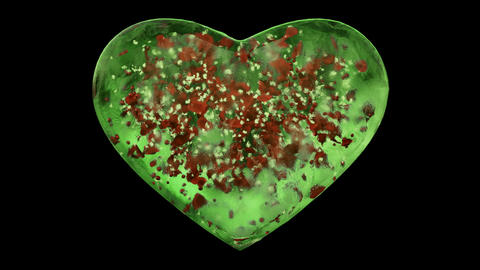 Green Ice Glass Heart with snowflakes and red petals inside Alpha Matte Loop 4k Animation