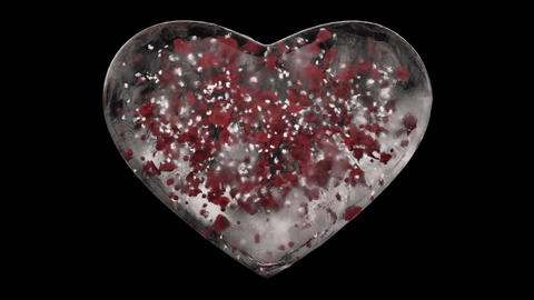 White Ice Glass Heart with snowflakes and red petals inside Alpha Matte Loop 4k Animation