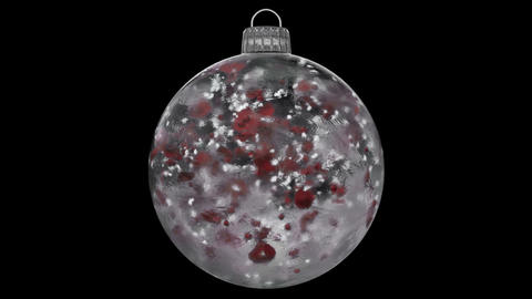 Christmas New Year White Ice Glass Bauble Decoration red petals alpha matte loop Animation