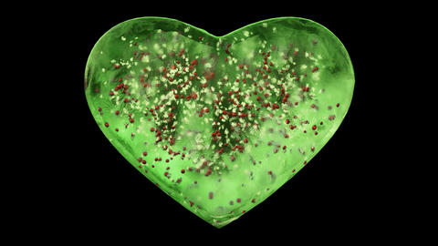 Green Ice Glass Heart with snowflakes and red balls inside Alpha Matte Loop 4k Animation