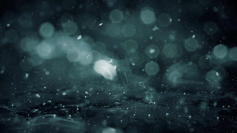 Winter Motion background noir lights snow falling on ice defocused bokeh loop 4k Animation