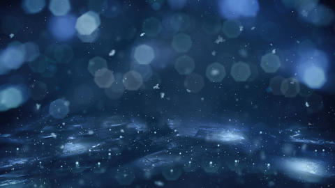 Winter Motion background blue lights snow falling on ice defocused bokeh loop 4k CG動画素材