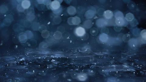 Winter Motion background blue lights snow falling on ice defocused bokeh loop 4k Image