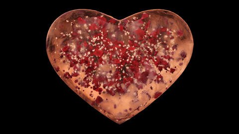 Orange Ice Glass Heart with snowflakes and red petals inside Alpha Matte Loop 4k Animation
