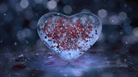 Rotating Blue Ice Glass Heart with snowflakes, red petals motion background Loop Animation