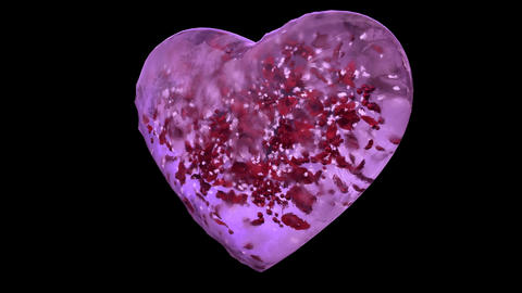 Rotating Pink Ice Glass Heart with snowflakes and red…, Stock Animation