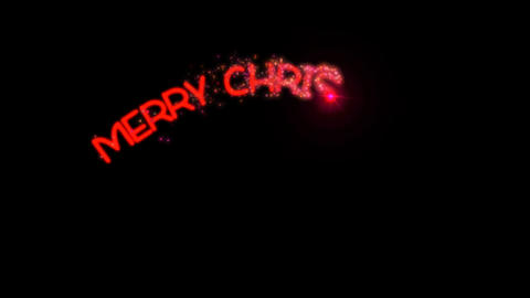 Merry Christmas - sparkler text animation in red with... Stock Video Footage