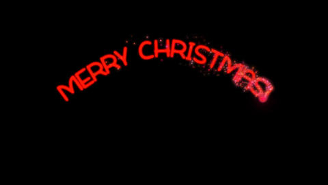 Merry Christmas - sparkler text animation in red with alpha channel Animation