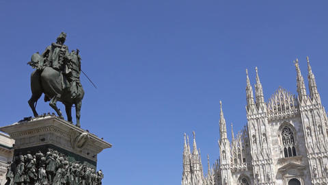 Milan Cathedral and monument in Piazza del Duomo Footage