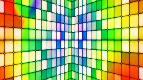Broadcast Twinkling Hi-Tech Cubes Walls, Multi Color, Abstract, Loopable, 4K Animation