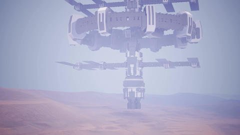 Colony on Mars like red planet, sci-fi animated ビデオ