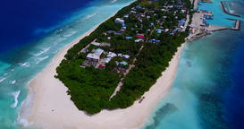 v11442 maldives white sand beach tropical islands with drone aerial flying birds Footage