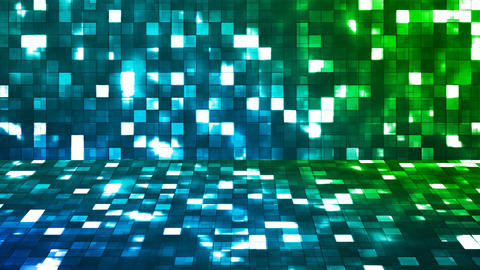 Broadcast Firey Light Hi-Tech Squares Stage, Blue Green, Abstract, Loopable, 4K Animation