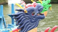 Dragon Boat Heads Close Up stock footage