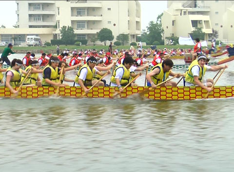 Dragon boat racing close up Stock Video Footage