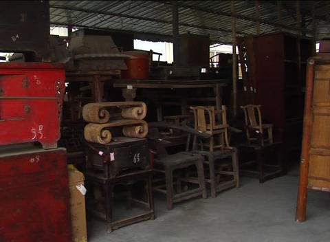 Unrestored Antique Chinese Furniture stock footage