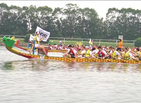 Dragon boats racing Stock Video Footage