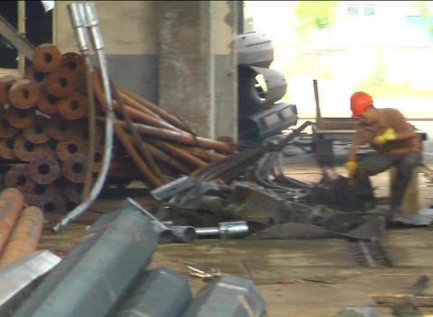 Steel girders on factory truck Stock Video Footage
