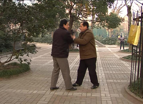 Two martial artists sparring in Shanghai park Footage
