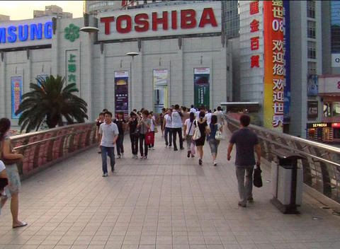 Pedestrian walkway in down town Shanghai Stock Video Footage