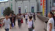 Pedestrian Walkway In Down Town Shanghai stock footage