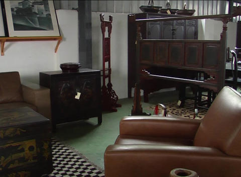 Antique Chinese furniture on sale Stock Video Footage