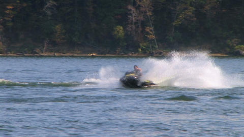 Jet Ski Jumps On Lake 02 Footage