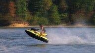 Jet Ski Jumps On Lake 02 stock footage