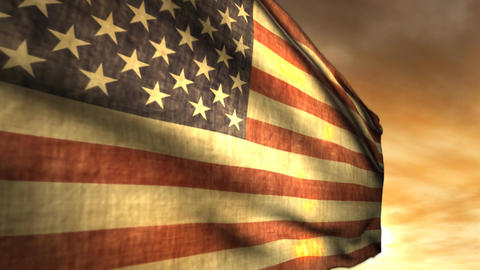 1040 Old Gory American Weathered Flag Stock Video Footage