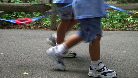 Kids Walking with Guide Rope Stock Video Footage