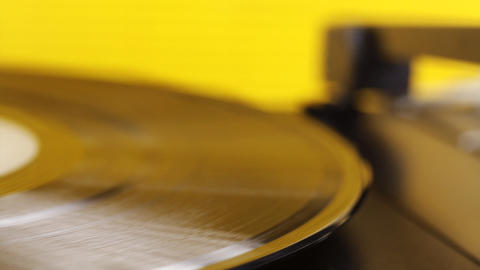 yellow vinyl01 Stock Video Footage