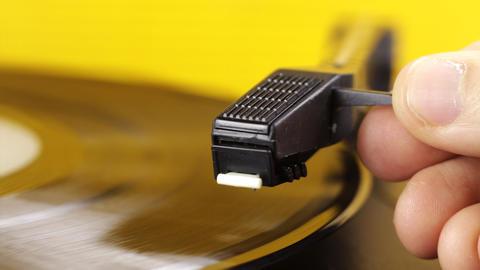 yellow vinyl01 Stock Video Footage