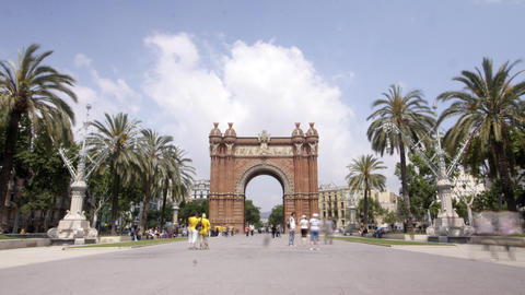 arc triompe barcelona Stock Video Footage