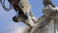 Crane Munching01 stock footage
