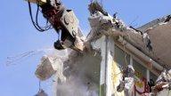 Crane Munching03 stock footage