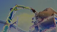 Crane Munching11 stock footage