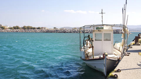crete fishing boat0 Stock Video Footage