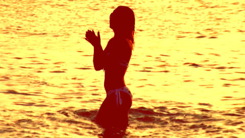 sunset dancer01 Stock Video Footage