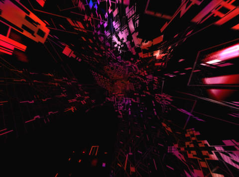 Flying Red Geometric : VJLoop 024 Stock Video Footage