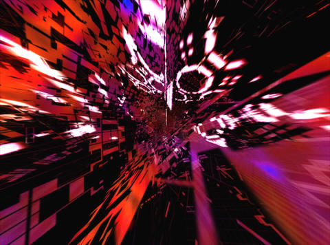 Flying Red Geometric : VJLoop 024 Stock Video Footage