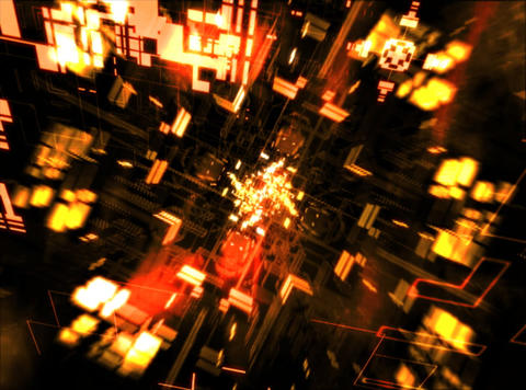 Flying Yellow Geometrics : VJ Loop 034 Stock Video Footage
