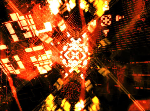 Flying Yellow Geometrics : VJ Loop 034 Stock Video Footage