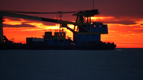 Sea sunset. Tugboat Stock Video Footage