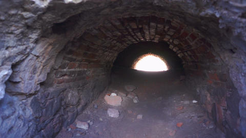 Brick Tunnel with Light at the End Stock Video Footage